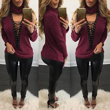 Pluse Size Women Sexy V Neck Knitted Lace Up Bandage Casual Pullover Jumper Tops Sweater
