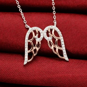 BELLA Fashion 925 Sterling Silver Dual Angel Wing Pendant Necklace Clear Cubic Zircon Necklace For Women Lady Party Jewelry Gift