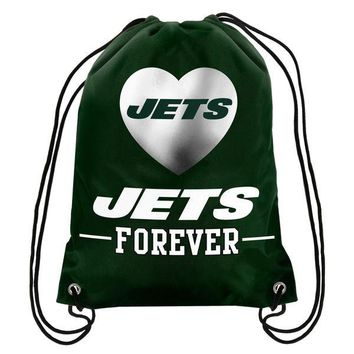 "Jets Forever Drawstring Backpack Knitted Polyester Custom Backpack 13""x18"""