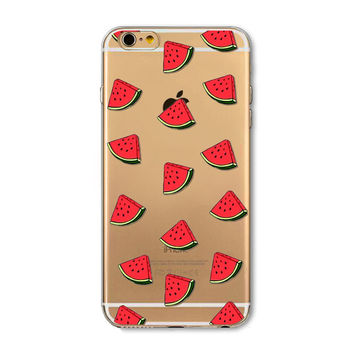 Small watermelon transparent phone case for iphone 5 5s SE 6 6s 6 plus 6s plus + Nice gift box 072701