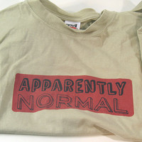 "Handprinted T-Shirt ""Apparently Normal"" All Cotton, Stone, Handmade Clothing, Men, Tee"