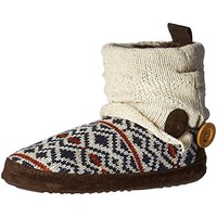 Muk Luks Womens Knit Faux Fur Lined Bootie Slippers