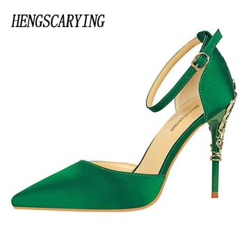 HENGSCARYING 2017 Sexy Women 10cm High Heels Pumps Wedding Metal Heels Satin Sandals Buckle Strap Stiletto Bridal Green Sandals