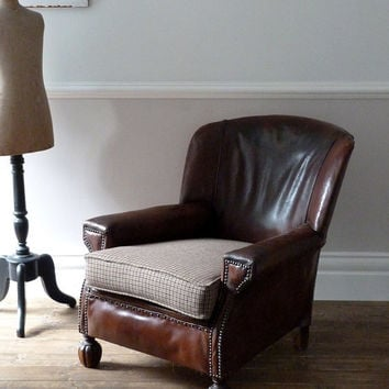 1930's Antique Brown Leather Club Chair