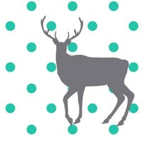 Turquoise Deer Print, Turquoise and Grey Polka Dot Deer Mount Print Wall Decor 8x10 Print