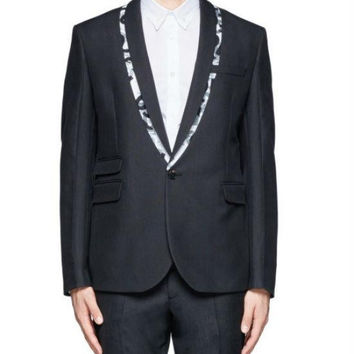McQ Alexander McQueen Black Logo Tape Trim Wool-blend Tuxedo Jacket