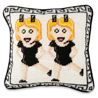 Twinning Emoji Needlepoint Pillow