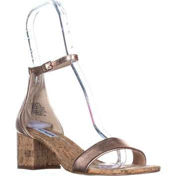 Steve Madden Irenee Heeled Ankle Strap Sandals, Rose Gold, 8 US