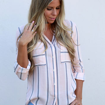 Penny Pinstripe Button Down {Peach}