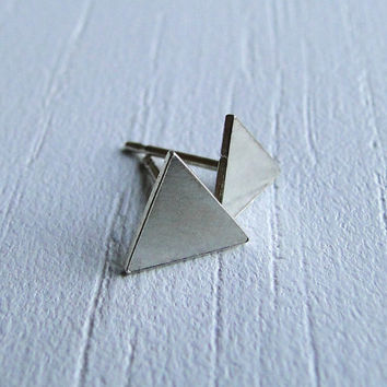 Sterling Silver Triangle Stud Earrings or 14K Gold Filled Triangle Stud Earrings - Handmade Hand Cut Earring Studs by Gioielli Designs
