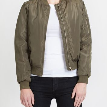 LE3NO Womens Padded Varsity Bomber Cropped Jacket with Pockets