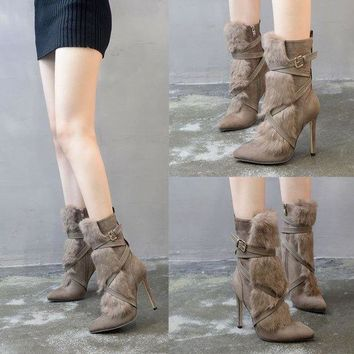 ac VLXC Boots Pointed Toe Rabbit Fur [120849825817]