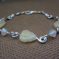 Purity - Glass Leaf/Wrapped Wire/Swarovski Crystal Bracelet
