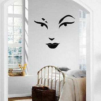 Wall Stickers Vinyl Decal Beautiful Woman's Face Lips Makeup Eyebrows Unique Gift ig1348