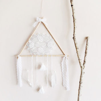 Dream catcher, large, boho dreamcatcher, triangle, wood, crochet doily, wall decor, neutral, white, hanging, handmade, room decor, wedding