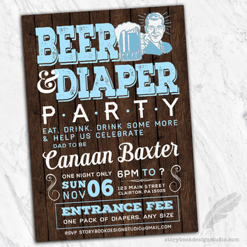 Beer and Diaper Party Baby Shower Invitations
