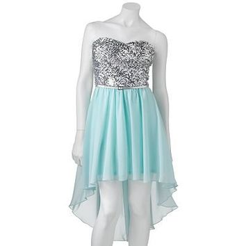 Lily Rose Hi-Low Chiffon Sequin Dress - Juniors