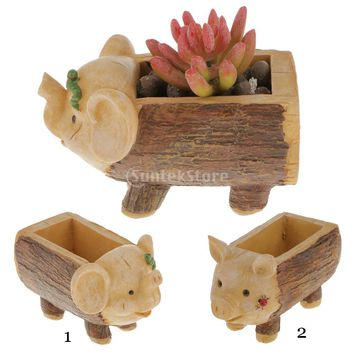 Calf Elephant Stump Flower Sedum Succulent Pot Planter Bonsai Box Plant Bed