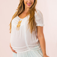 Babydoll Maternity Top in White
