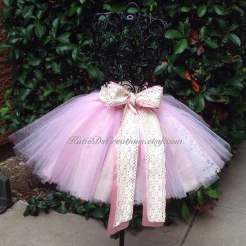 Antique Pinks, Linen and Vintage Lace Tutu / Pink and Ivory Lace Flower Girl Tutu / Birthday Tutu