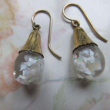 Vintage Floating Opals Earrings in Gold Fill  Snow Globe Earrings