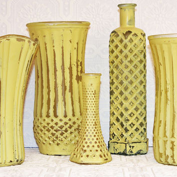Custom Order Vintage Lemon Yellow Hand Painted Distressed Shabby Chic  Vases