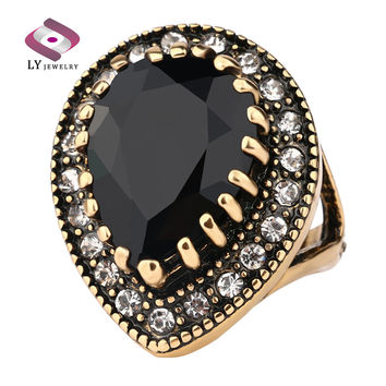Big Water Drops black Ring For Women Plating Gold Mosaic CZ Diamond Turkey Jewelry Vintage Wedding Fine RING 2016 Free Shipping