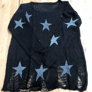 Best Days Black Star Distressed Sweater