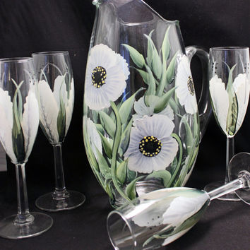 Hand Painted Glass Pitcher (1) White Flowers. Wedding, Shower Gift