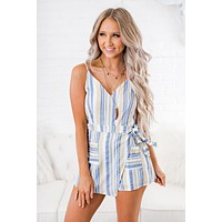 Davey Striped Romper (Blue/Taupe)