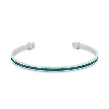 Nico Turquoise Green CZ Silver Cuff Bracelet