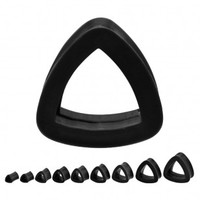 Silicone Black Triangle Tunnel Plugs - 0g - Sold As A Pair