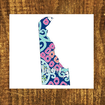LILLY PULITZER Deleware Home Decal   Deleware State Decal   Homestate Decals   Love Sticker   Love Decal    Car Decal   Car Stickers    100