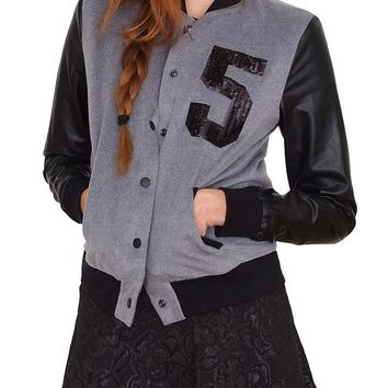 Go 5 Varsity Jacket - Gray/Black