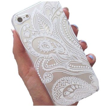 2018 Trending White Floral Flower Slim Plastic Hard Cell Phones Case Cover Skin Mobile Phone Accessories for iPhone 5 & 5S