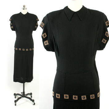 Vintage 40s Cocktail DRESS / 1940s Black Rayon Crepe Peplum Dress with Gold Studded Rhinestone Trim S