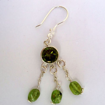 Chandelier style sterling earrings with peridot and cubic zirconia and silver filled ear wires.