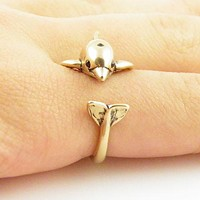 Animal Wrap Ring - Dolphin - Yellow Bronze - Adjustable Ring - Keja Jewelry