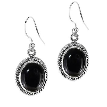 3.00 Ct Oval Natural Black Onyx Sterling Silver Statement Earrings