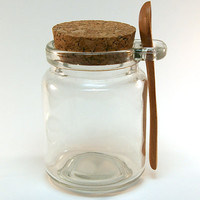 5 Glass Jars with Mini Wooden Spoon- for Bath Salt, Spices, Seasonings, Jam, Honey Jar, Sugar Jar, Mixes, Candy, Favors