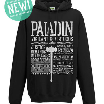 World of Warcraft / WoW inspired Hoodie - PALADIN Edition - Unisex / Mens / Ladies / - Black