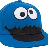 Sesame Street Cookie Monster Face Fitted Flat-bill Hat