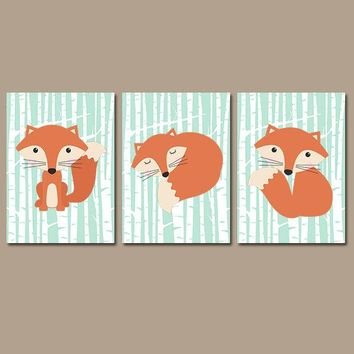 FOX Wall Art, FOX Nursery Art, Fox Decor, Fox Birch Trees, Fox Woodland Nursery Decor, Wood Forest Animals Canvas or Prints Set of 3 Art