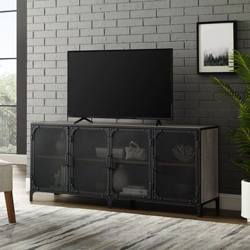 Urban Industrial Gray Wash with Metal Mesh Doors TV Stand
