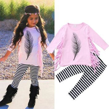 Abacaxi Kids Pink Feather 2PC Outfit 2T-6