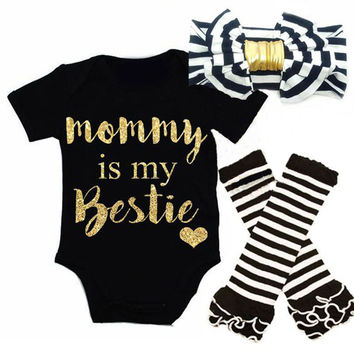 Newborn Baby Girls Christmas Clothes Set Bodysuits Short Sleeve Jumpsuit Headband Leg Warmer 3pcs Clothing Outfits