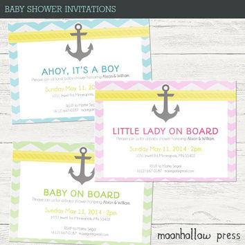 Nautical Baby Shower Invitations 5x7""