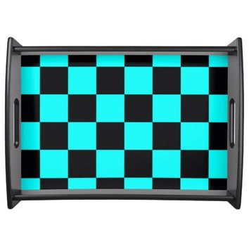 BLACK & TEAL CHECKERBOARD DESIGN SERVING TRAY