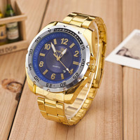 Classic Business Mens Gold Band Watch