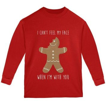 DCCKU3R Christmas Gingerbread Man Can't Feel My Face Youth Long Sleeve T Shirt